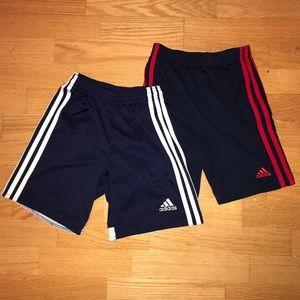 Adidas boys soccer shorts 2 pair